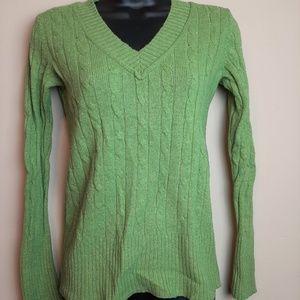 LOFT Cold Shoulder V-neck Cable Knit Sweater XS